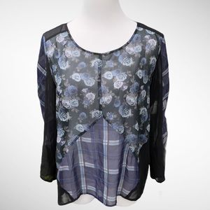 H&M DIVIDED Sheer Patchwork Blouse